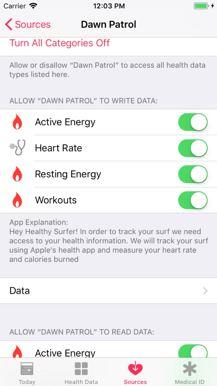 Image of a Health app where authorization is on